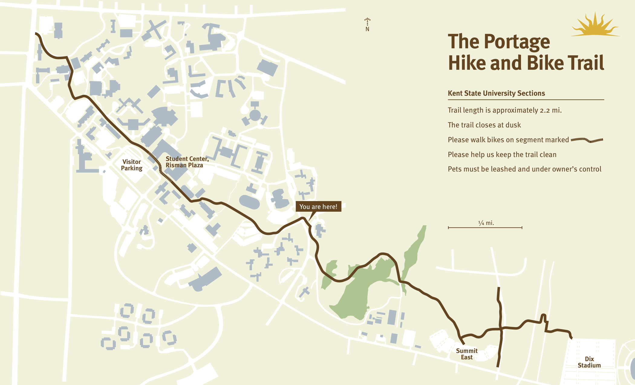 Map of the Portage hike and bike trail's Kent State campus section