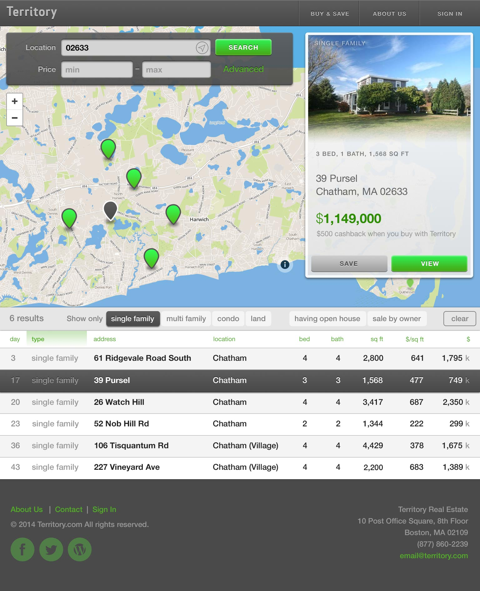 Mockup of the property search flow on web